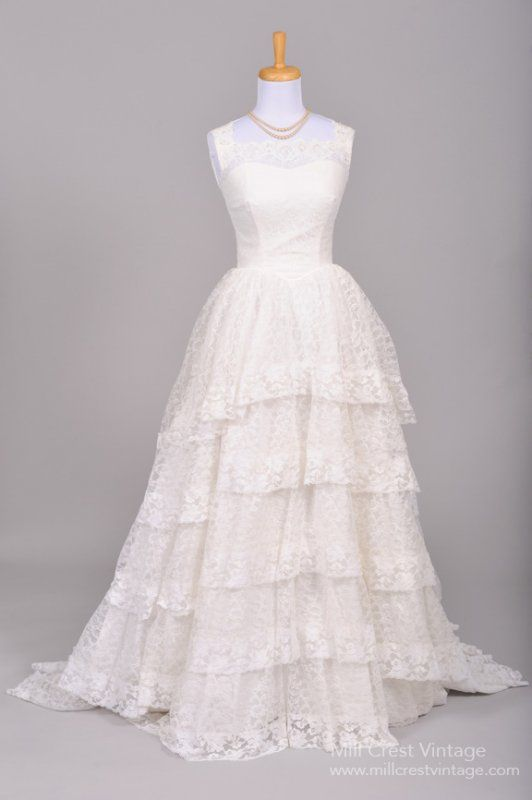 1950 Princess Lace Vintage Wedding Gown - Click Image to Close ...