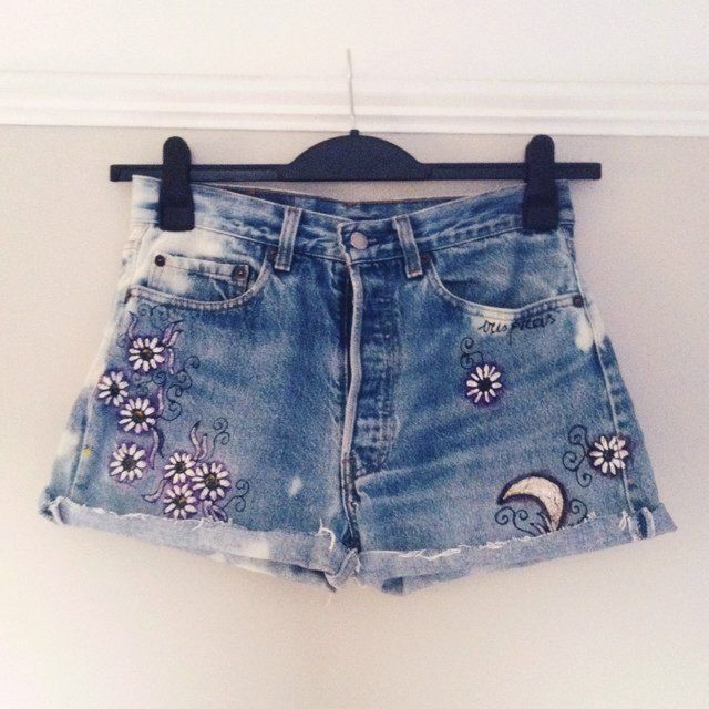 f052775929 Vintage reworked levi denim shorts / cut offs • hand painted moon and daisy  design on the front and back • size 8 • high waist • click to buy, ...