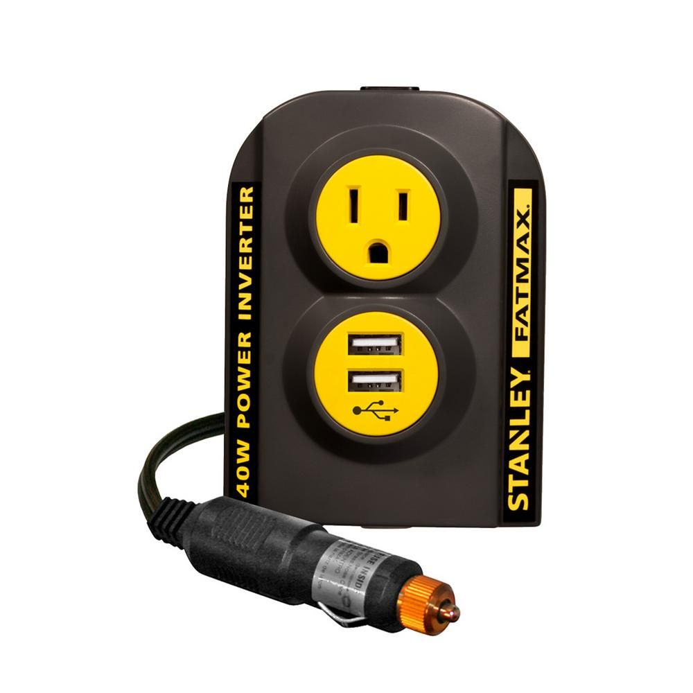 Stanley 140 Watt Power Inverter 12 Volt Dc To 120 Volt Ac Power Outlet With Dual Usb Ports Usb Ac Power Walmart