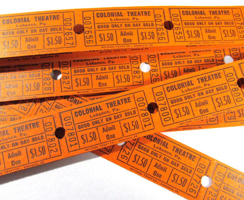 Movie Theatre Tickets Vintage Theater Tickets Twenty Five 25