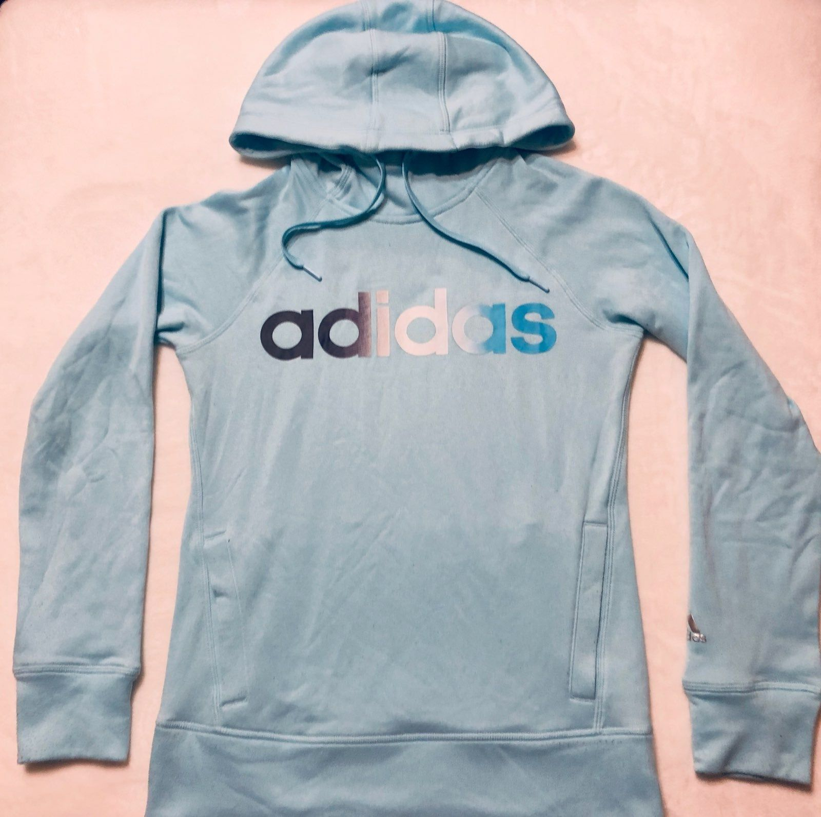 Super Cute Light Blue Adidas Hoodie This Is In Great Condition With No Major Signs Of Wear Hoodies Adidas Hoodie Blue Adidas [ 1593 x 1600 Pixel ]