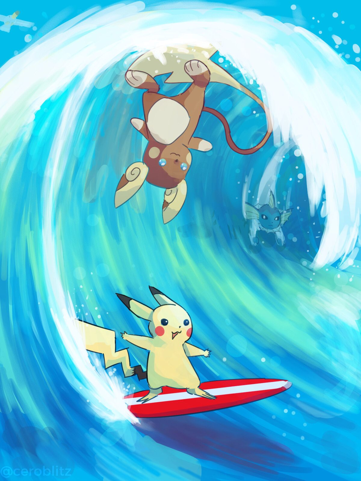 9f406875d Allan Raichu, surfing Pikachu, and vaporeon. Find this Pin and more on Pokemon  Sun and Moon ...