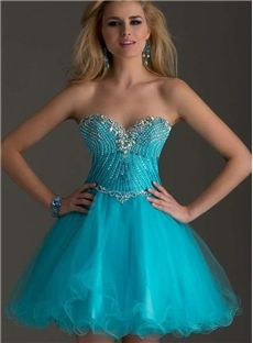 Sweet A-line Sweetheart Neckline Tulle Net Beaded Short Zipper-up Homecoming Dress