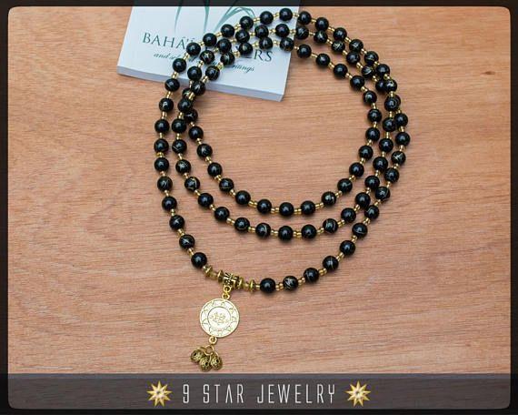 Bahai Prayer Beads With 18k Gold Bahai Ringstone Symbol Bahai
