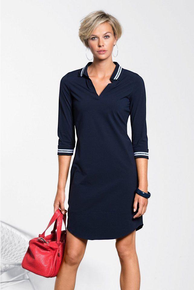 bianca Jerseykleid »ANINA«, sportives Kleid mit V-Neck, Polokragen