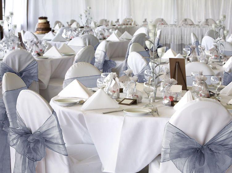 50 Silver Organza Chair Covers Sash Bow Wedding Party Wedding