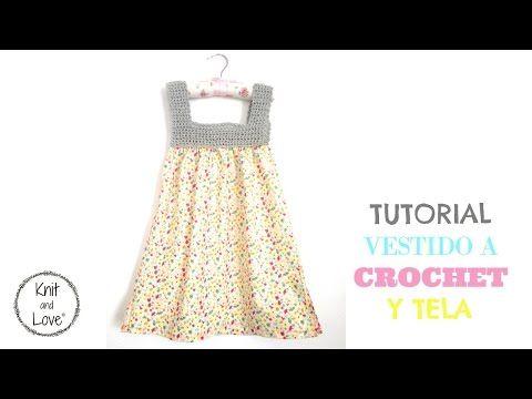 TUTORIAL VESTIDO TELA Y CROCHET PATRON MUY FÁCIL - YouTube