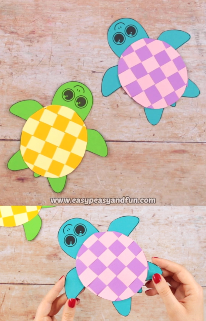 Summer time is great to put the scissor skills at test and what better way than by making this colorful Paper Weaving Turtle Craft.