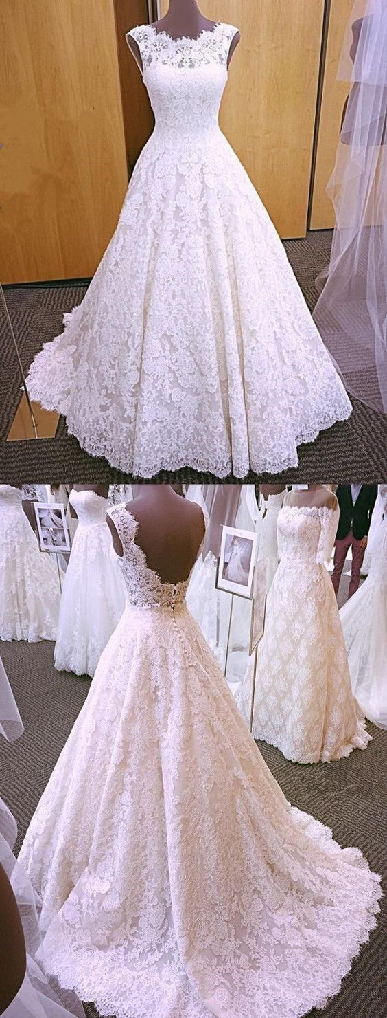 Open back wedding dresses aline short train chic romantic lace