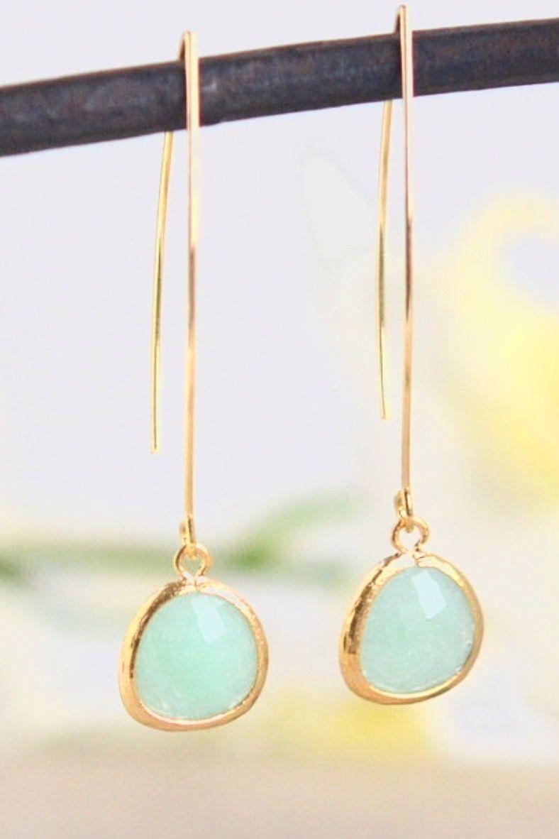 Simple Mint Jade Drop Earrings Dangle Earrings Long Drop Earrings