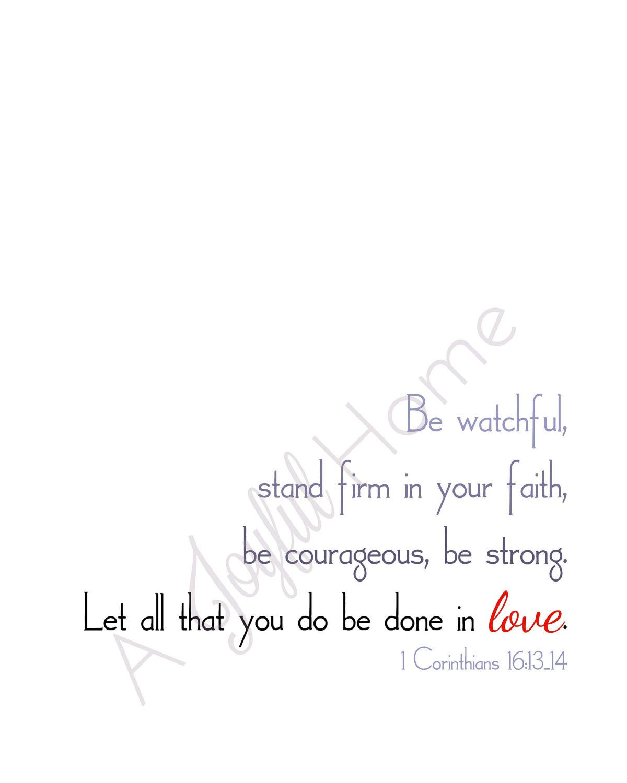 1 Corinthians 161314 Scripture Printable Wall ArtBe by AJoyfulHome ...