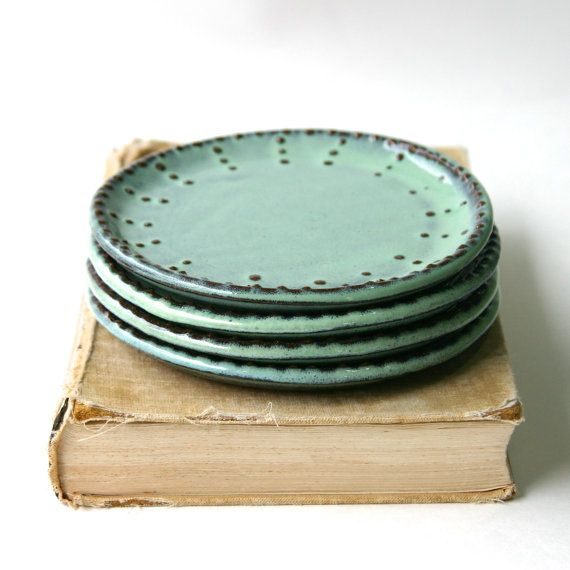Dessert Plates - Set of 4 - Aqua Mist - Handmade Stoneware - French Country Dinnerware - Ready to Ship  sc 1 st  Pinterest & Dessert Plates - Set of 4 - Aqua Mist or Color of Your Choice ...