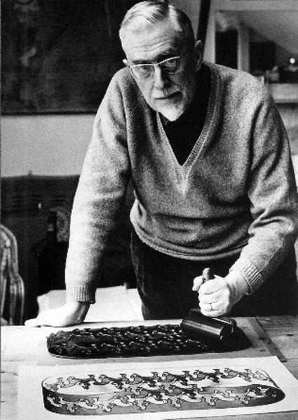 Maurits Cornelis Escher at his studio