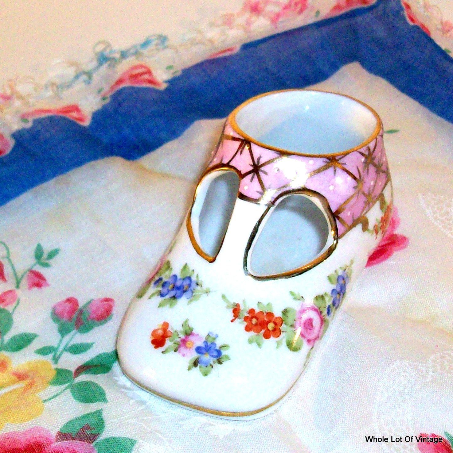 Vintage Porcelain Shoe Ceramic Baby Shoe Mary Jane Hand Painted T