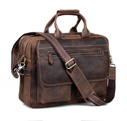 cec3fbd3ce0b Kattee Crazy-Horse Leather Briefcase Shoulder Business Laptop Bags Tote for  Men (Coffee)