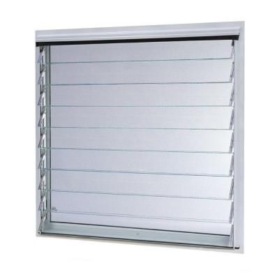 TAFCO WINDOWS 36 in. x 34.87 in. Jalousie Utility Louver Aluminum Screen Window - White-JALW3636 - The Home Depot