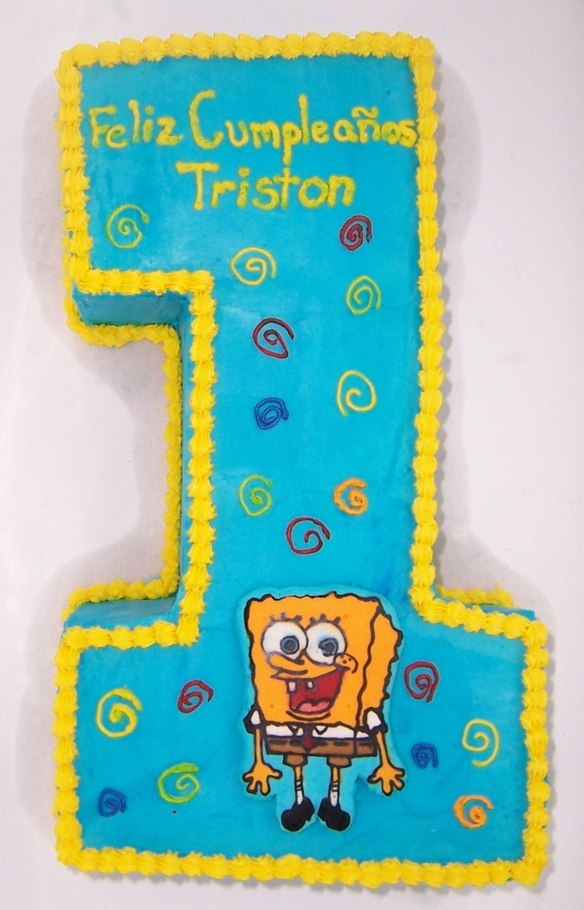 number 1 spongebob - first year birthday with smash cake ...