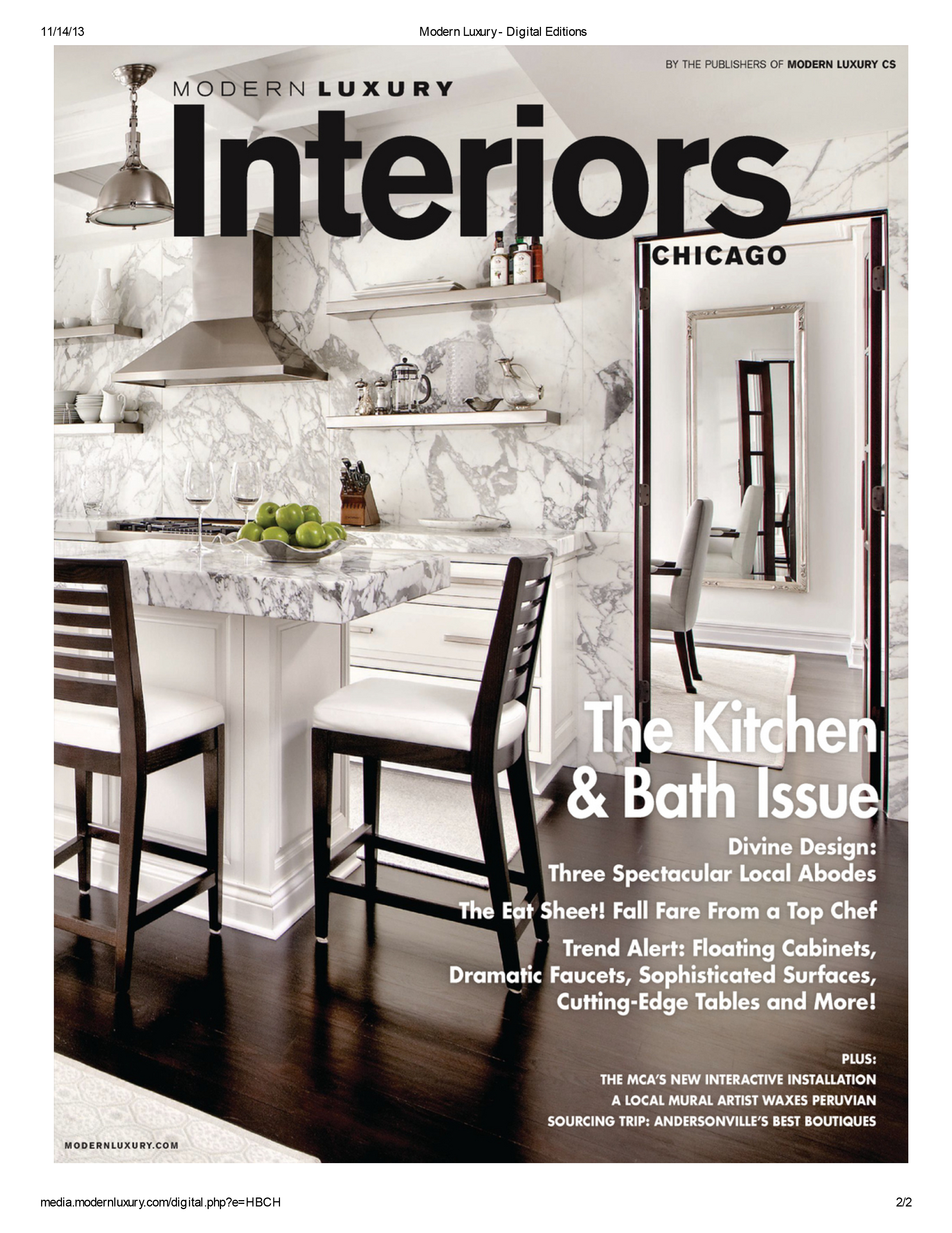 2017 Modern Luxury Interiors Chicago Magazine The Kitchen And Bath Issues Click On Pin To Read Article Snaiderousa