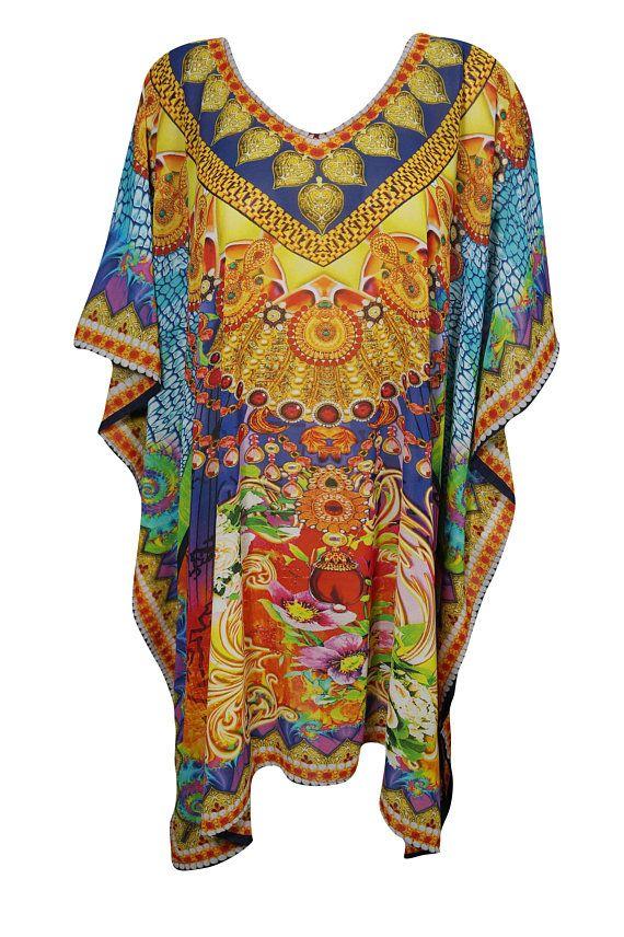 ab1bd19634 Ladies Summer Kimono Kaftan Jewel Print Colorful Beachwear Bikini Cover Up Resort  Wear Caftan Dress One Size