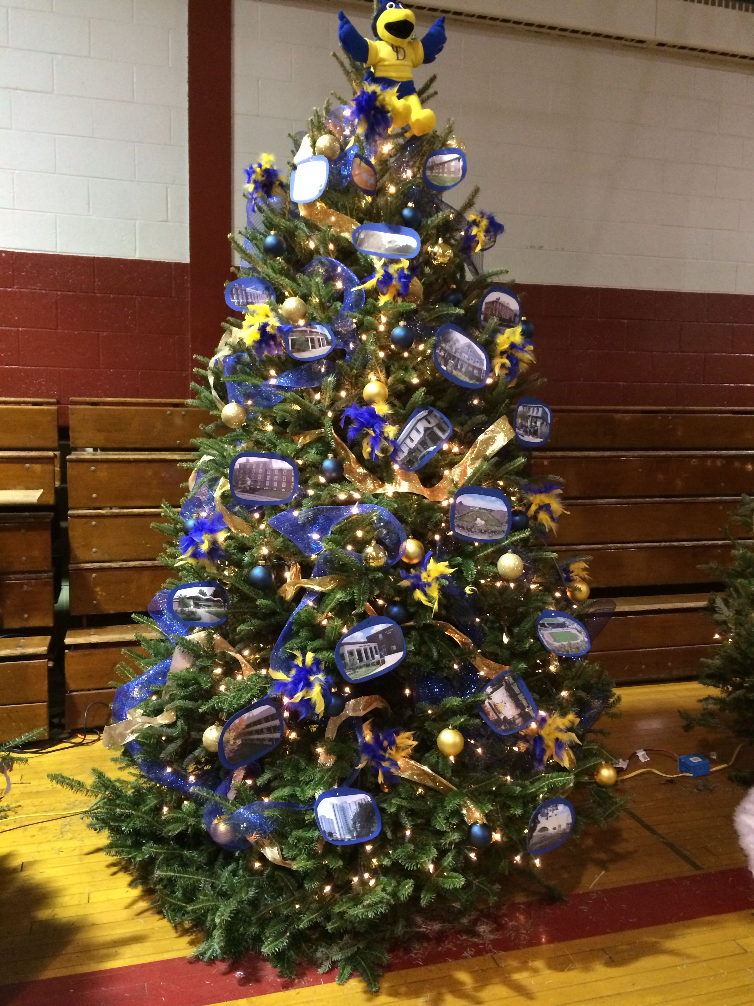 University Of Delaware Themed Christmas Tree For School Tree Decorating Competition 2013 Double Creative Christmas Trees Christmas Tree Themes Christmas Tree