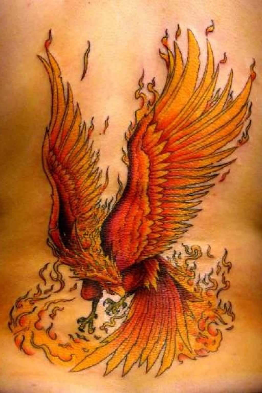 Colorful phoenix tattoo designs - Color Flaming Phoenix Tattoo On Back