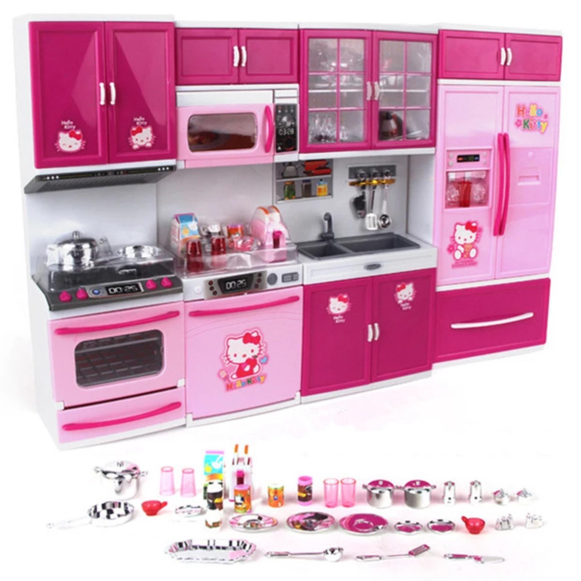 Kitty Kitchen Toys Simulation House Luxury Girl Gift Toy Kitchen Set Toy Kitchen Hello Kitty Kitchen