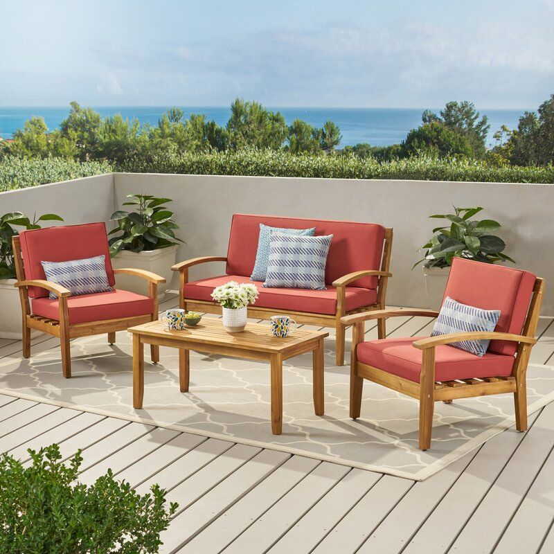 Juno 4 Piece Sofa Seating Group With Cushions In 2020 Seating Groups Patio Seating Outdoor Furniture Sets