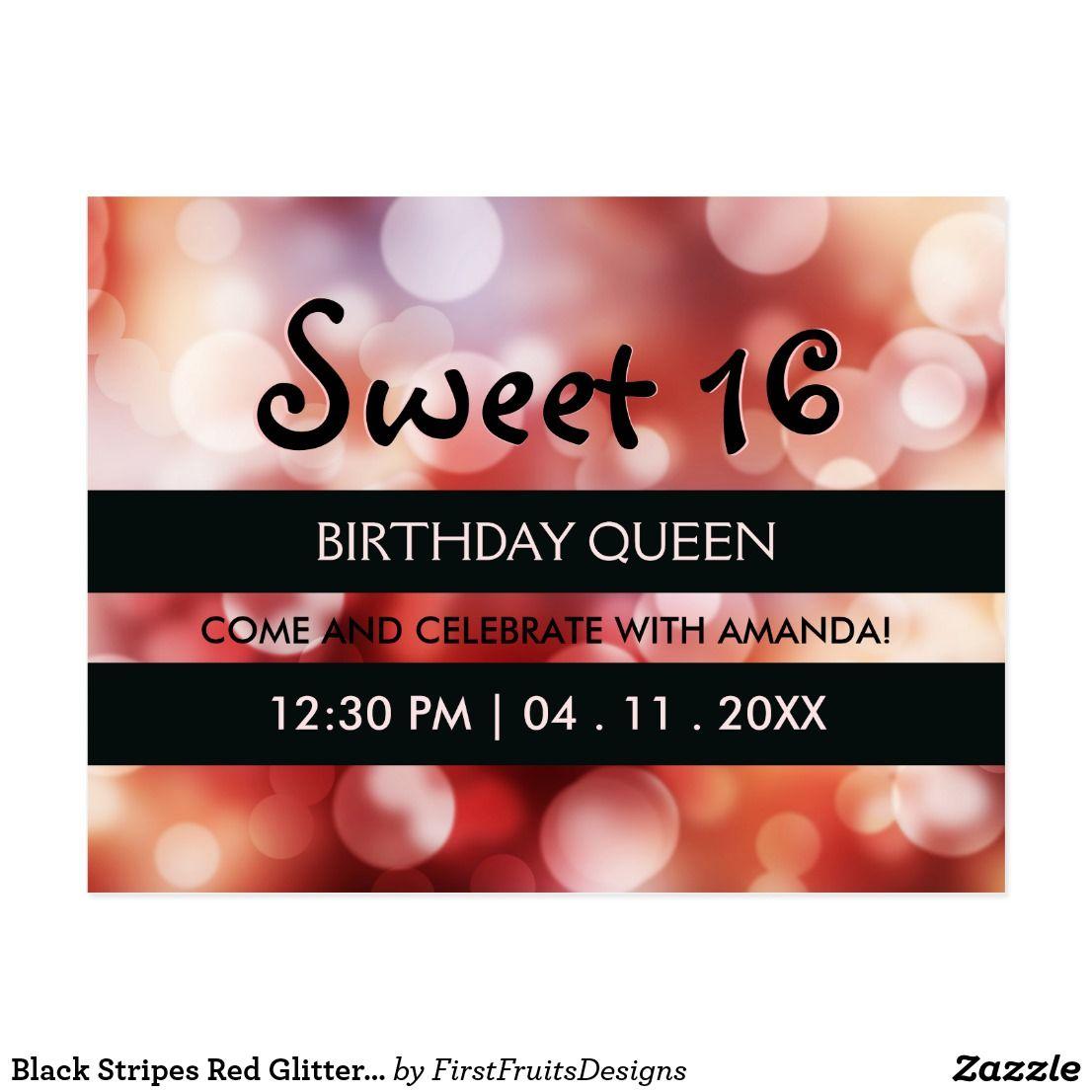 Black Stripes Red Glitter Sweet 16 Birthday Party Invitation ...
