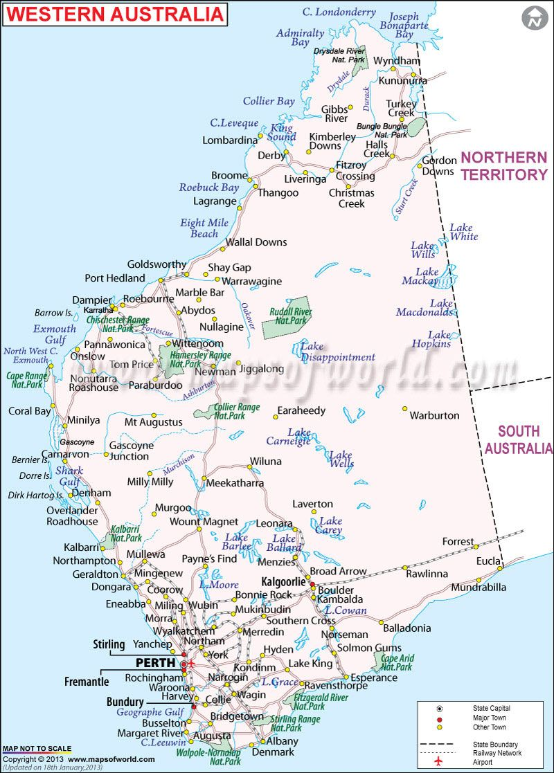 Western Australia Mapyou Can See I Live On The Beach Just South - Australia cities map