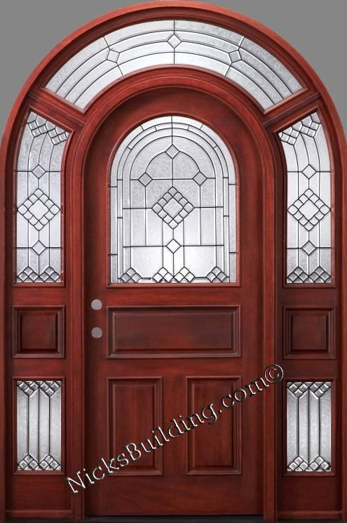 Round Top Entrance Door Real Wood Door The Mega Mahogany 3004 Entrance Grandentrance Door Wooddoor Vitray Kapilar