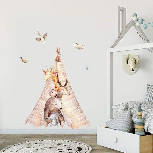 Веселый вигвам для детской комнаты) Наклейка подойдет для ...