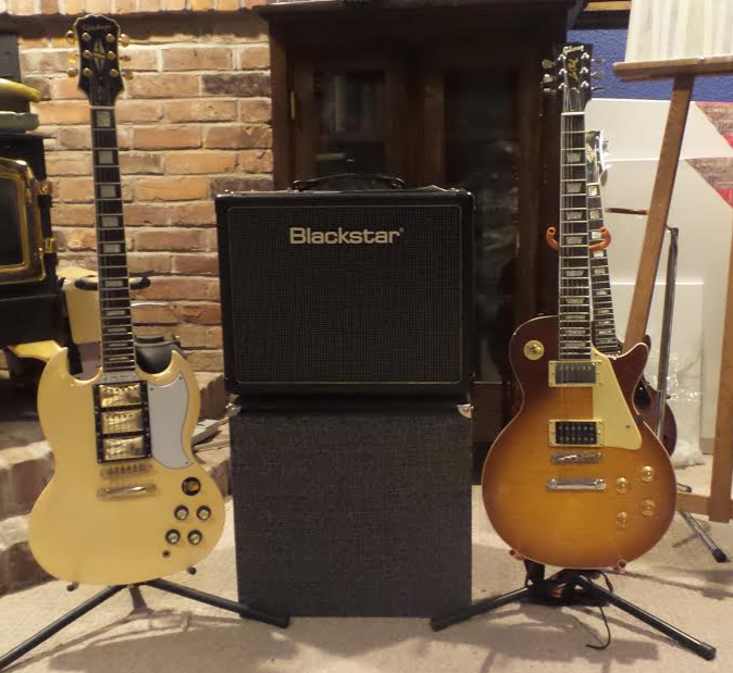 My 2008 Epiphone G400 Custom  Black Star Ht 5c Tube Amp