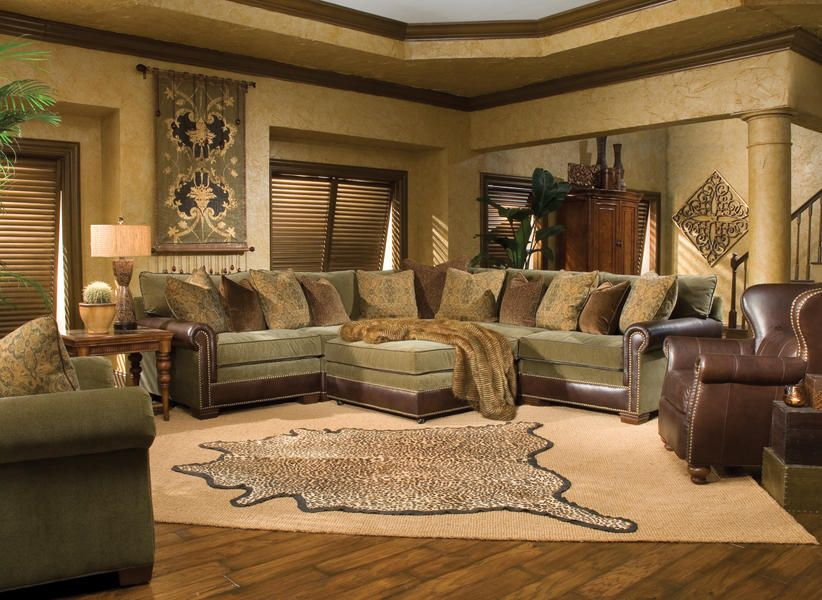 Huntington House Cl7107 Leather Fabric Pit Group Sectional