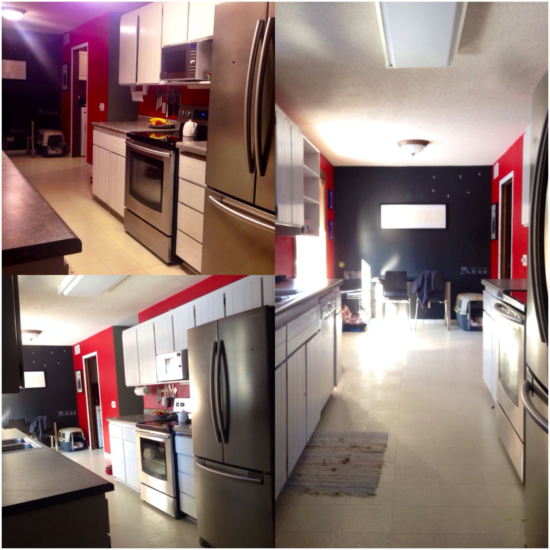 Red Kitchen Walls With Chalk Board Accent