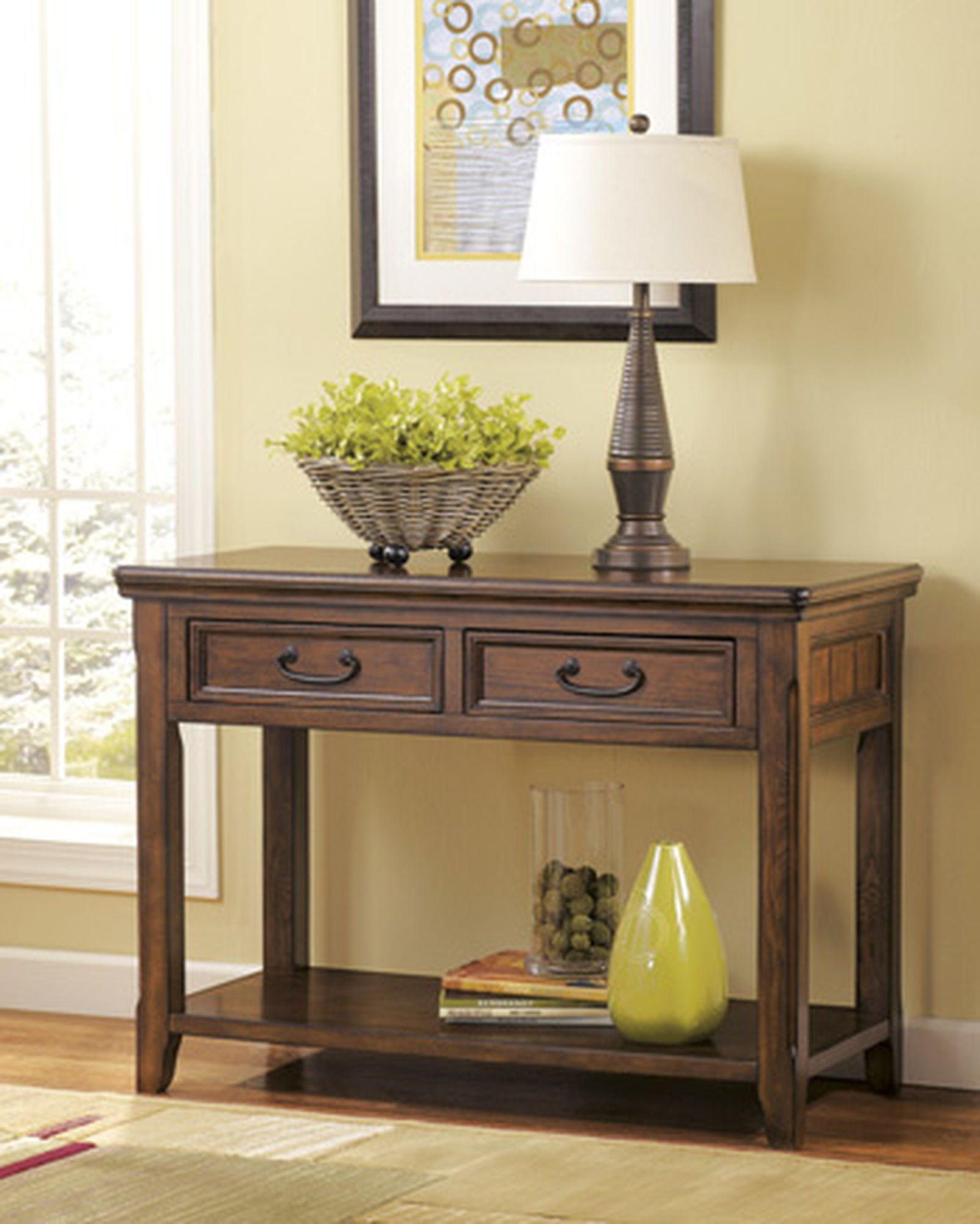 Two Framed Drawer Casual Sofa Table In Dark Brown Mathis