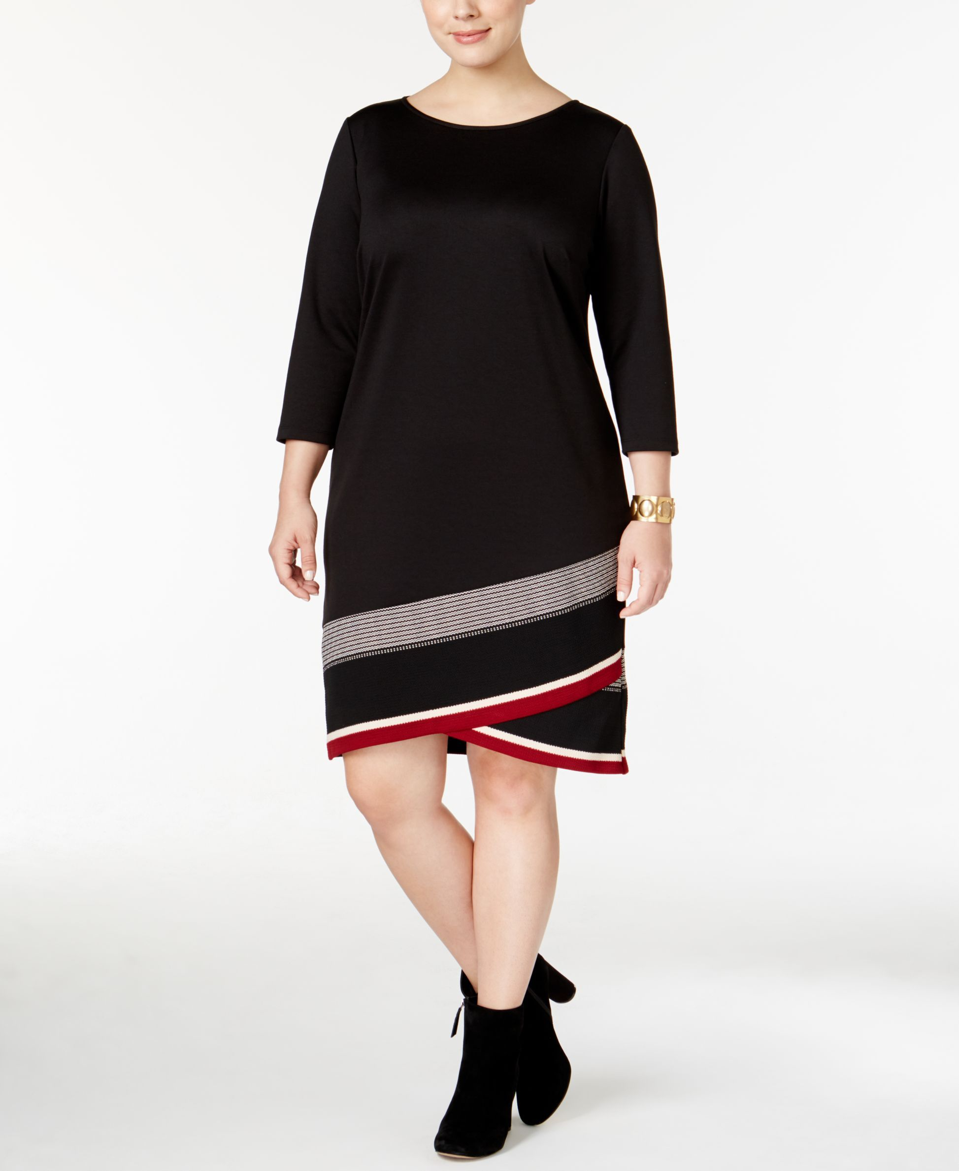 Inc International Concepts Plus Size Striped Shift Dress, Only at Macy's
