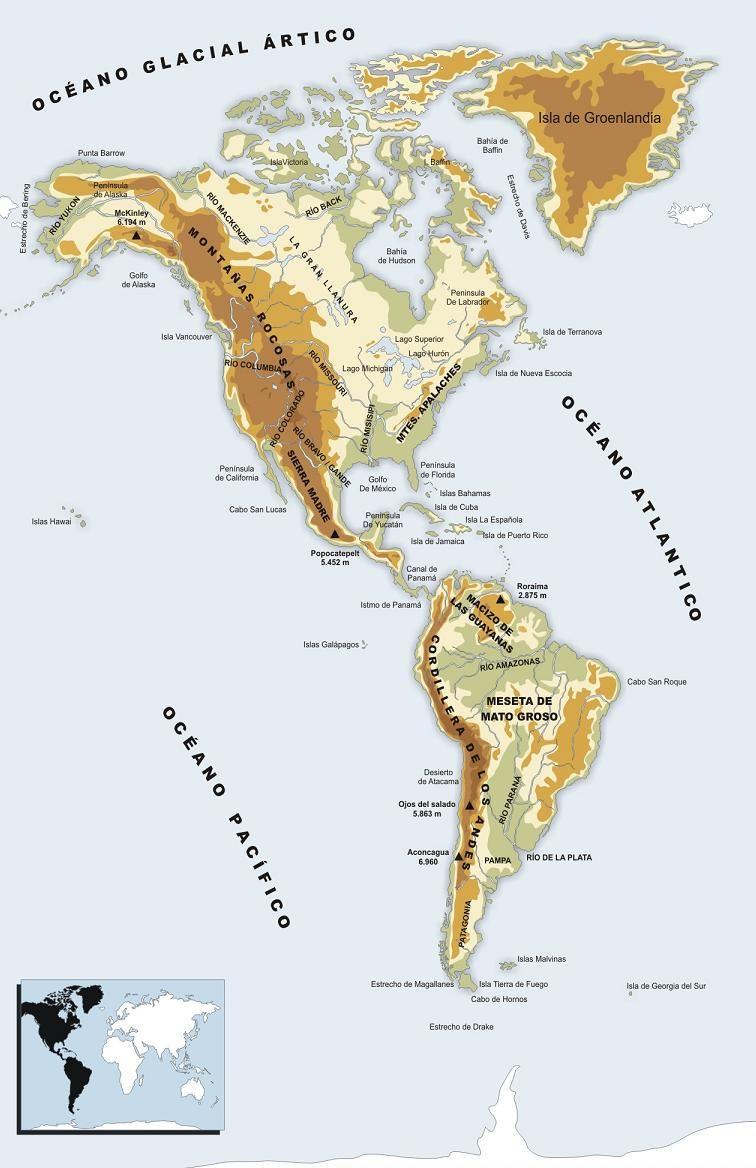 América Mapa Físico 756 1168 Px Mapa Atividades De Geografia Geografia Fisica