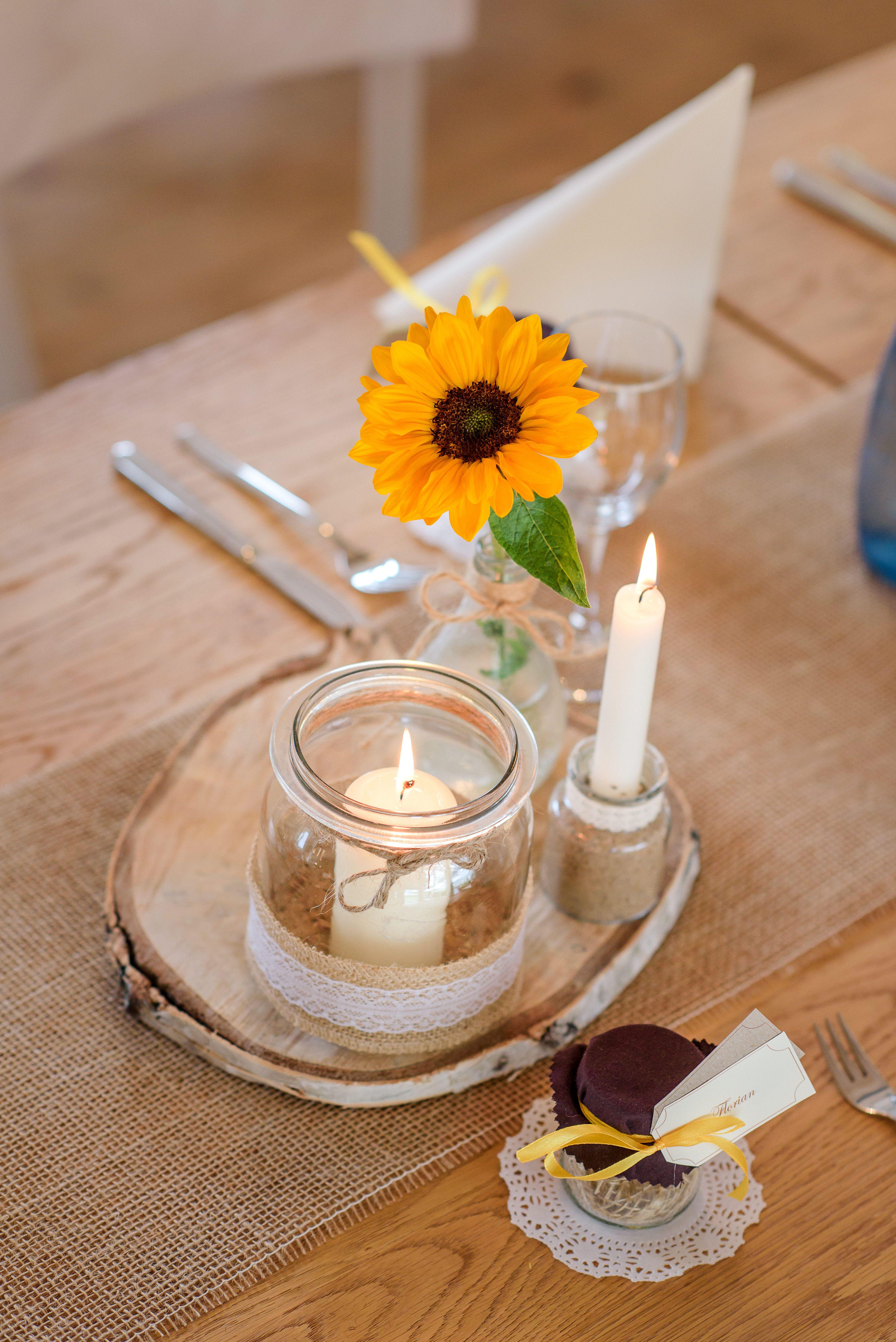 Sonnenblumen Hochzeitsdeko Bauernhof Bischoff  Tischdeko