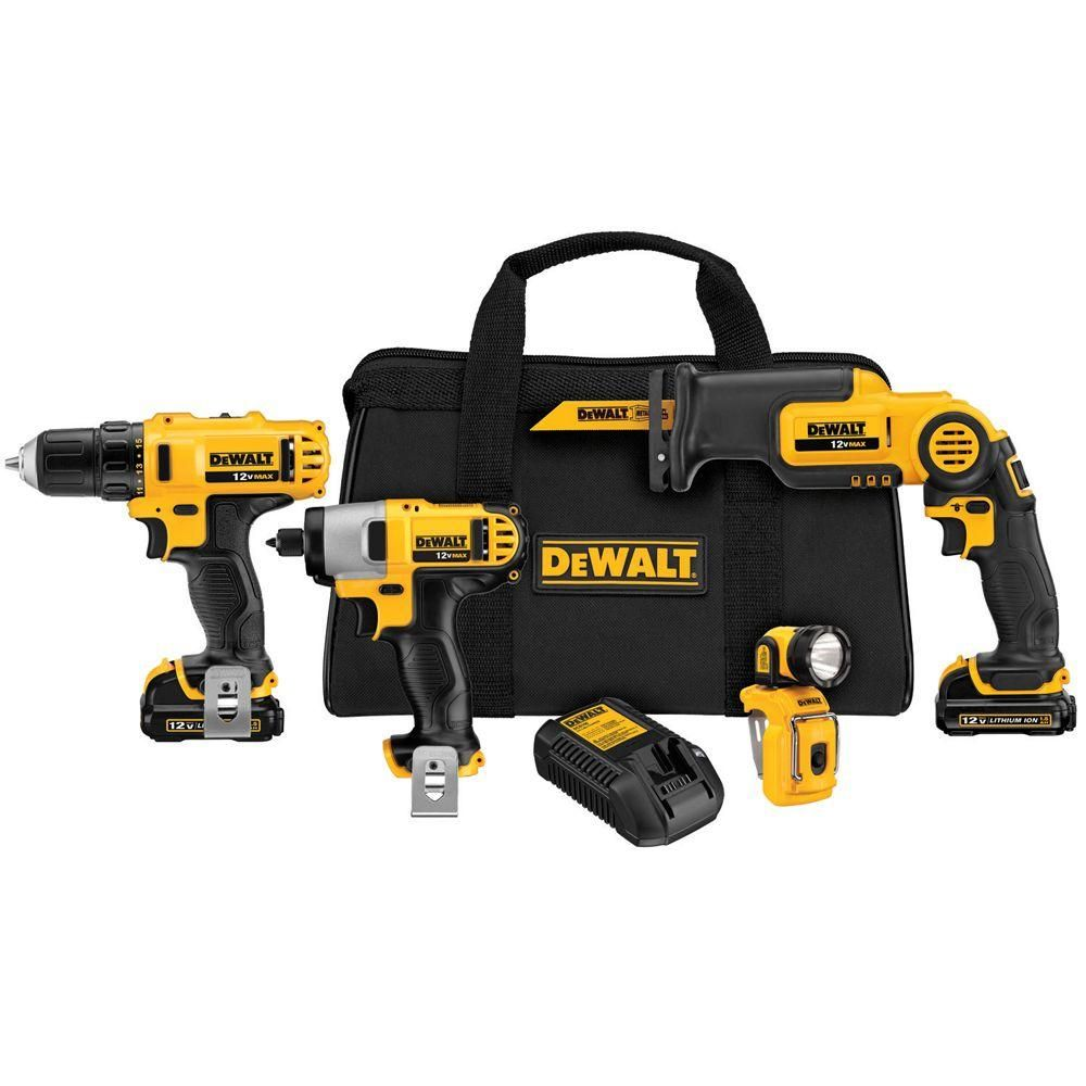 Dewalt 12 Volt Max Lithium Ion Cordless Combo Kit 4 Tool With 2 Batteries 1 5ah Charger And Tool Bag Dck413s2 Dewalt Tools Dewalt Power Tools Impact Driver