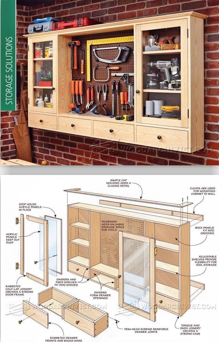 Pegboard Tool Cabinet Plan. #garageorganizer #woodworkingtips  #woodworkingplans