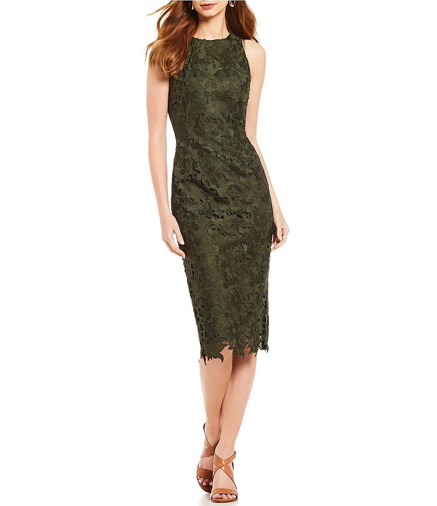 e9e2ab0a492 Antonio Melani Peggy Cut-Out Lace Sleeveless Midi Dress...Loden ...