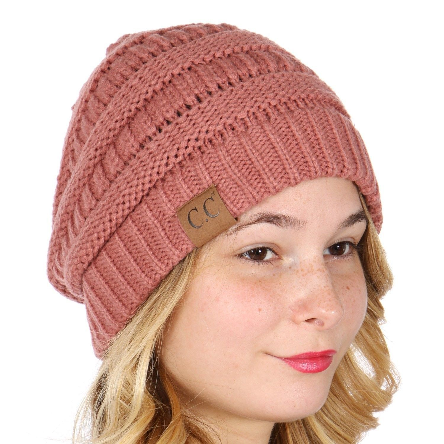 66e4325df21 C.C Unisex Soft Stretch Thick Slouchy Knit Oversized Beanie Cap Hat ...