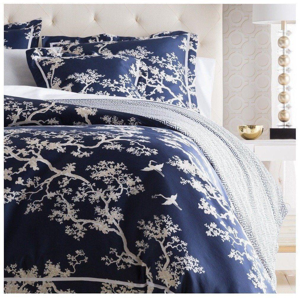 Navy Blue Duvet Bedding Set Features An Oriental Design In Ivory
