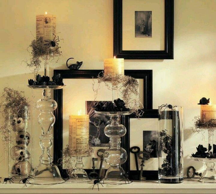 Holloween mantle piece ideas from Pottery Barn HALLOWEEN DELIGHTS