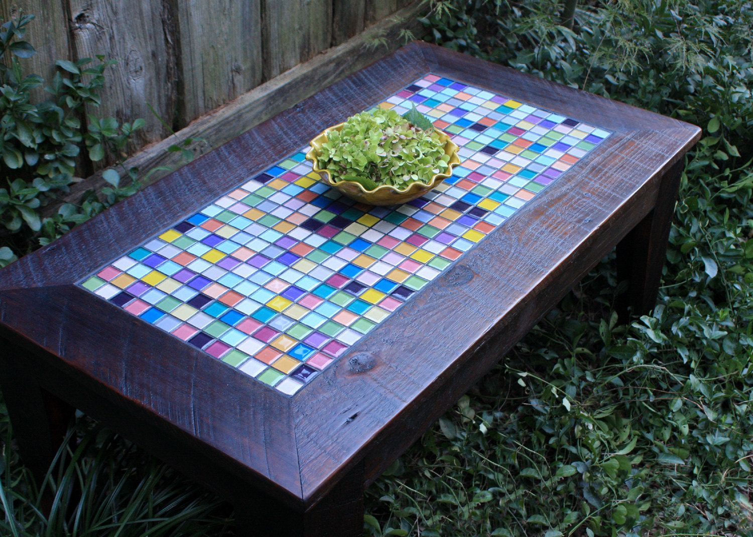 Coffee Table With Glass Mosaic Tile Inlay By Natureinspiredcrafts