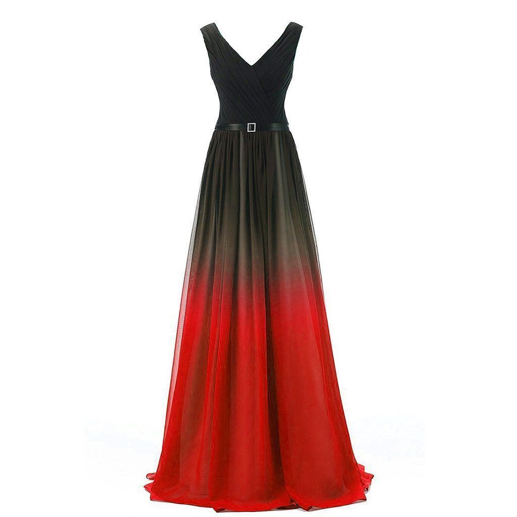 Floor length v neck ruched pleats with sash and crystal brooch