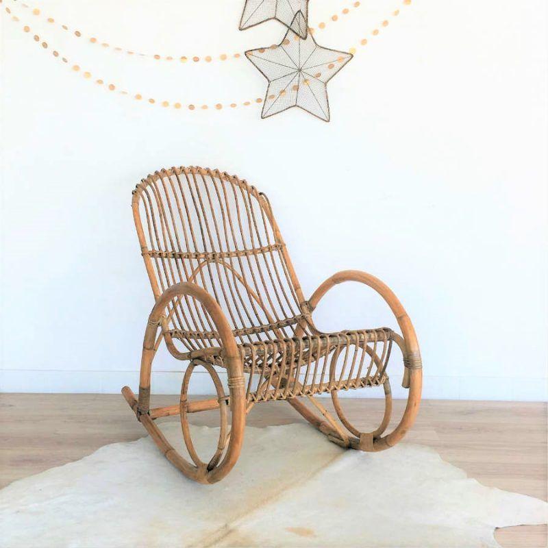 Fauteuil A Bascule Rotin Osier Annees 60 Retro Outdoor Glider Chair Rattan Rocking Chair Rocking Chair Cushions