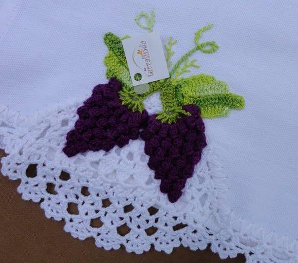 Pano De Prato Bico Em Crochet Uvas Flor De Crochet