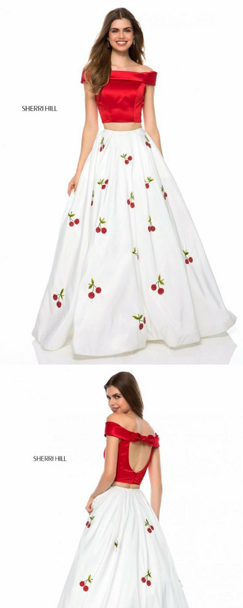 red and white cherry ballgown piece dress sherri hill print