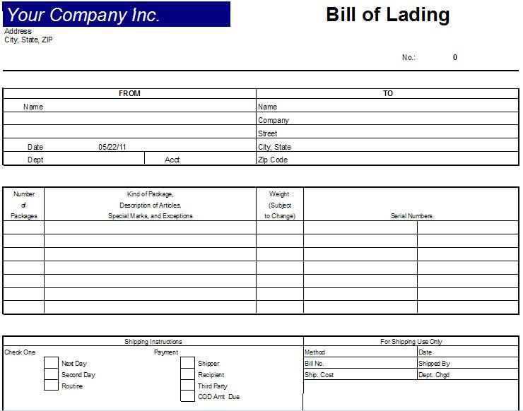 Printable Sample Bill Of Lading Template Form  Bill Of Lading Form Free
